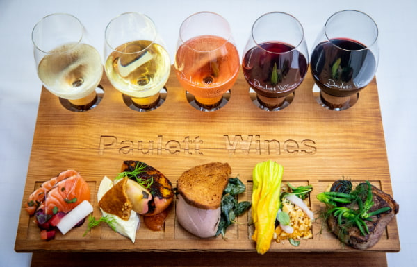 Foods and glasses of wines